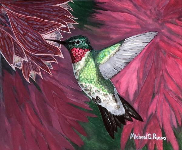 Wall Art - Painting - Ruby Throated Hummingbird by Michael Panno