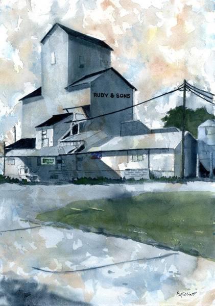 Elevators Wall Art - Painting - Rudy's Grain Elevator In Covington by Marsha Elliott