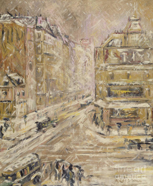 Wall Art - Painting - Rue De Clignancourt Under Snow, 1924 by Gustave Loiseau