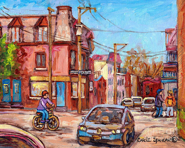 Painting - Rue Debullion And Napoleon Corner Store Across Bakery Peloponissos Montreal Paintings C Spandau Art by Carole Spandau