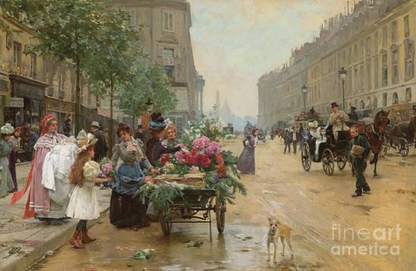 Florist Wall Art - Painting - Rue Royale, Paris, 1898  by Louis de Schryver