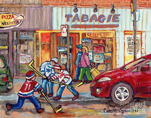 Painting - Rue Wellington Verdun Montreal Winter Scene Painting Tabagie Pizza Shop Hockey Art C Spandau Artist  by Carole Spandau