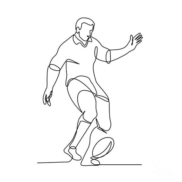 Wall Art - Digital Art - Rugby Player Kicking Ball Continuous Line by Aloysius Patrimonio