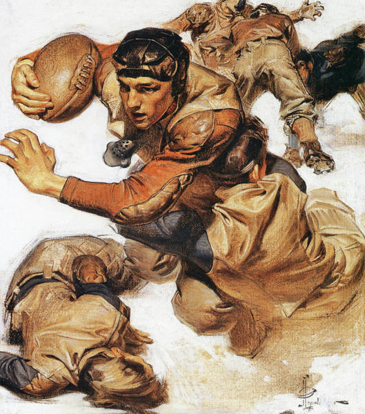 Wall Art - Painting - Rugby Player, Tackle - Digital Remastered Edition by Joseph Christian Leyendecker