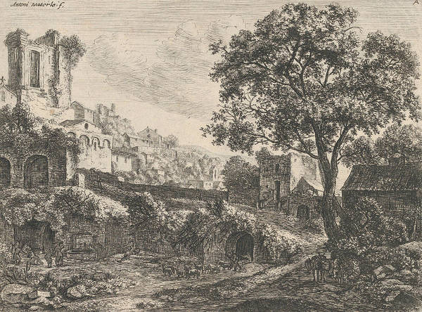 Wall Art - Relief - Ruin At The Entrance Of A Town by Antonie Waterloo