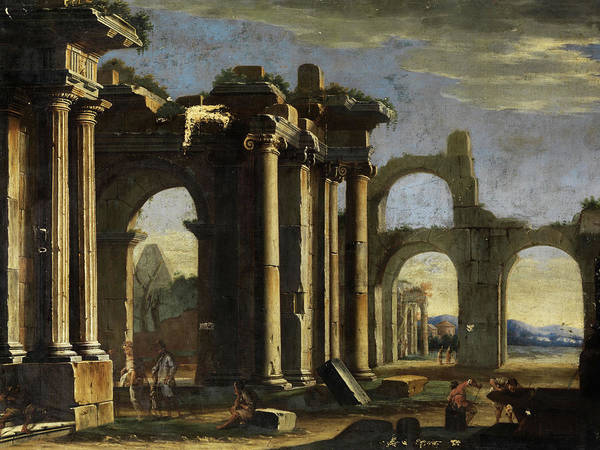 Collapse Painting -  Ruins Capriccio With Figures by Italian painter