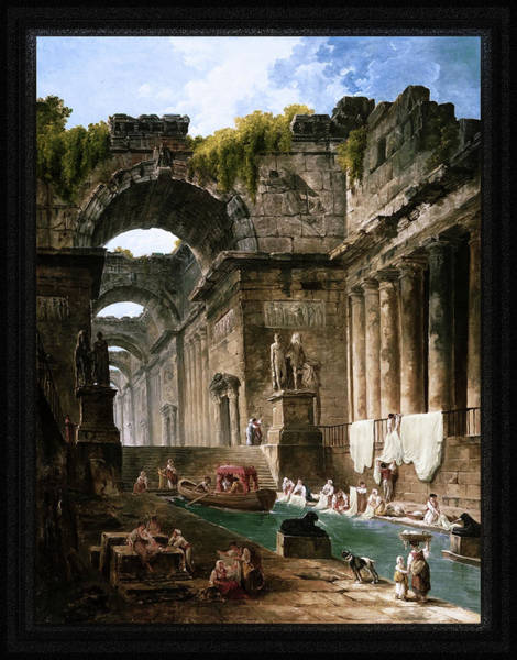 Painting - Ruins Of A Roman Bath With Washerwomen By Hubert Robert by Xzendor7