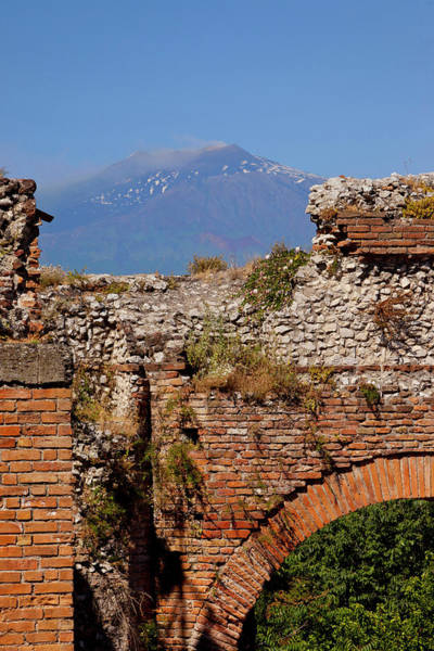 Ancient Greek Photograph - Ruins Of Greek Theatre With Mt. Etna In by Danita Delimont