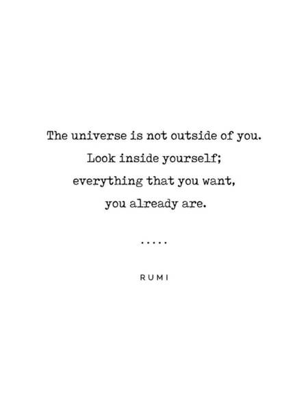 Wall Art - Mixed Media - Rumi Quote 22 - Minimal, Sophisticated, Modern, Classy Typewriter Print - The Universe Is Inside You by Studio Grafiikka