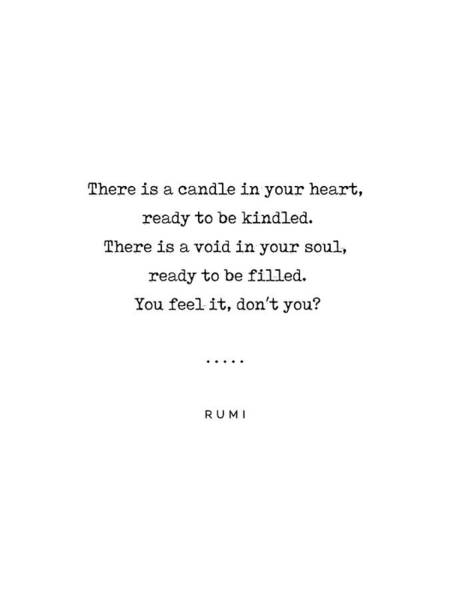 Simple Life Mixed Media - Rumi Quote On Life 11 - Minimal, Sophisticated, Modern, Classy Typewriter Print - Void In Your Soul by Studio Grafiikka