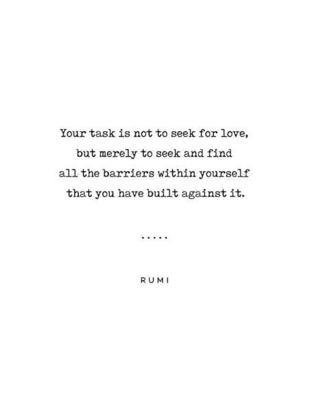 Rumi Wall Art - Mixed Media - Rumi Quote On Love 01 - Minimal, Sophisticated, Modern, Classy Typewriter Print by Studio Grafiikka