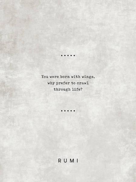 Rumi Wall Art - Mixed Media - Rumi Quotes 06 - Literary Quotes - Typewriter Quotes - Rumi Poster - Sufi Quotes - Wings by Studio Grafiikka