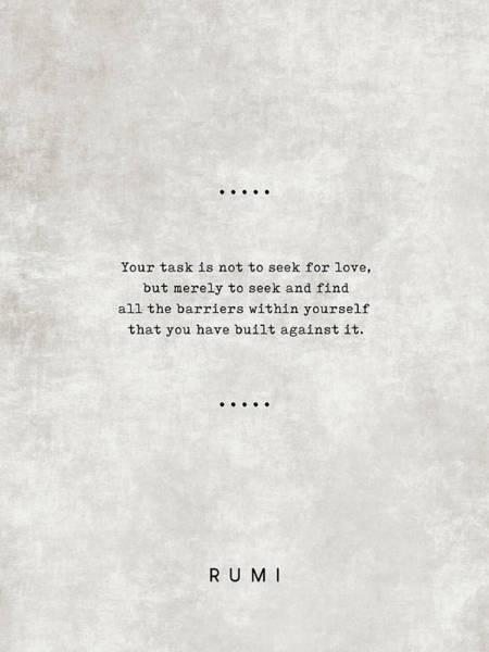 Rumi Wall Art - Mixed Media - Rumi Quotes 1 - Literary Quotes - Typewriter Quotes - Rumi Poster - Sufi Quotes by Studio Grafiikka