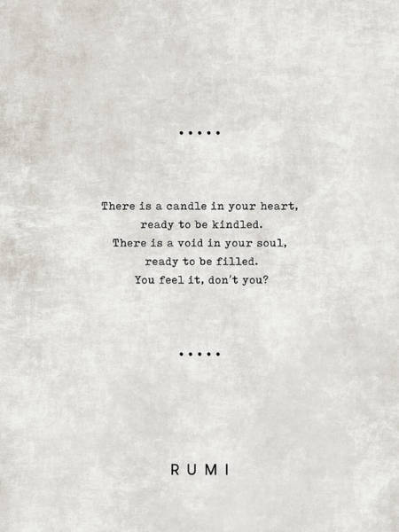 Reading Mixed Media - Rumi Quotes 11 - Literary Quotes - Typewriter Quotes - Rumi Poster - Sufi Quotes - Heart And Soul by Studio Grafiikka