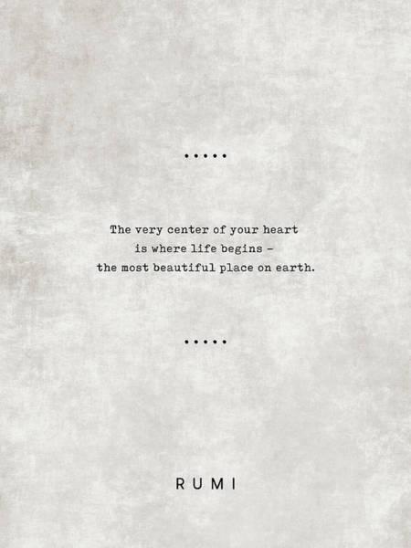 Rumi Wall Art - Mixed Media - Rumi Quotes 20 - Literary Quotes - Typewriter Quotes - Rumi Poster - Sufi Quotes - Heart by Studio Grafiikka