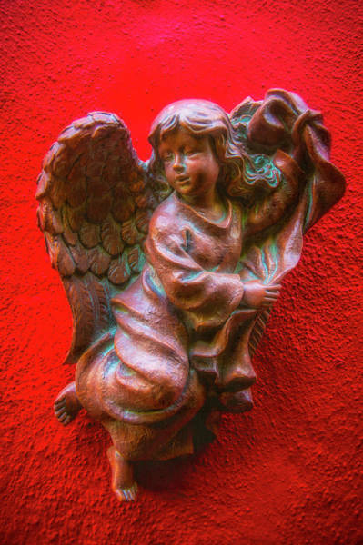 Wall Art - Photograph - Running Angel On Red Wall by Garry Gay