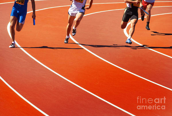 Wall Art - Photograph - Running Athletes At Stadium In Relay by Valery Bareta