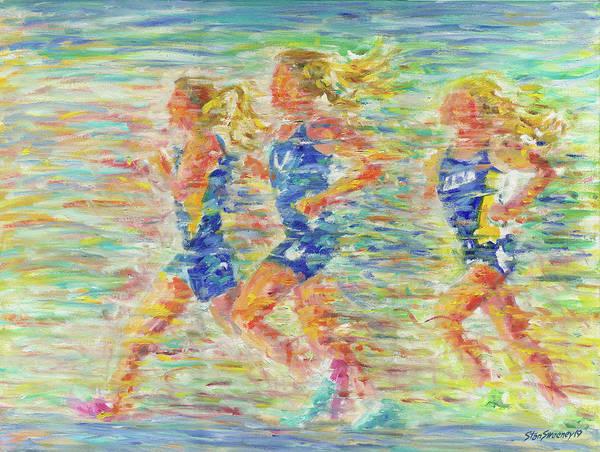 Painting - Running Girls by Stan Sweeney