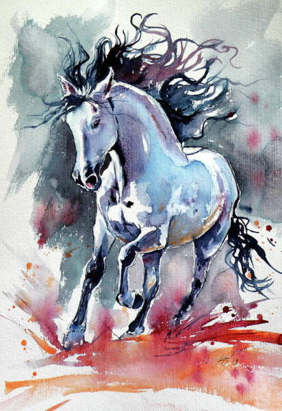 Wall Art - Painting - Running Horse II by Kovacs Anna Brigitta