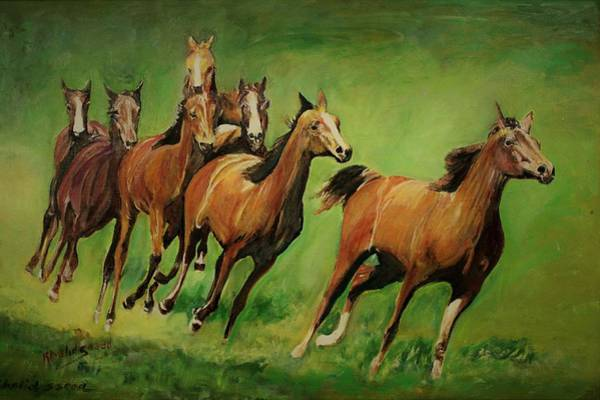 Wall Art - Painting - Running Wild by Khalid Saeed