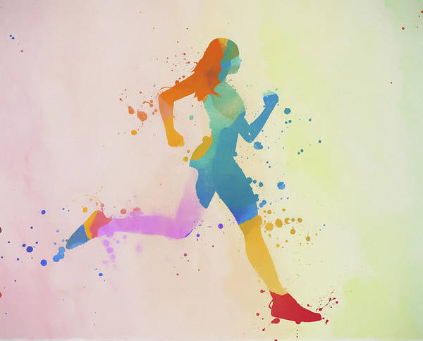 Wall Art - Painting - Running Woman Color Splatter by Dan Sproul