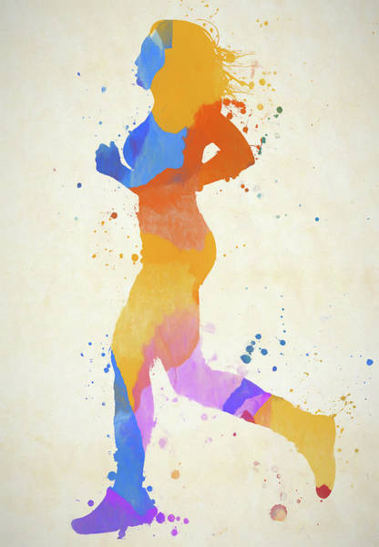 Wall Art - Painting - Running Woman Color Vertical by Dan Sproul
