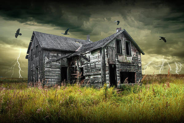 Photograph - Rural Abandoned Farm House In A Thunder Storm With Black Crows by Randall Nyhof