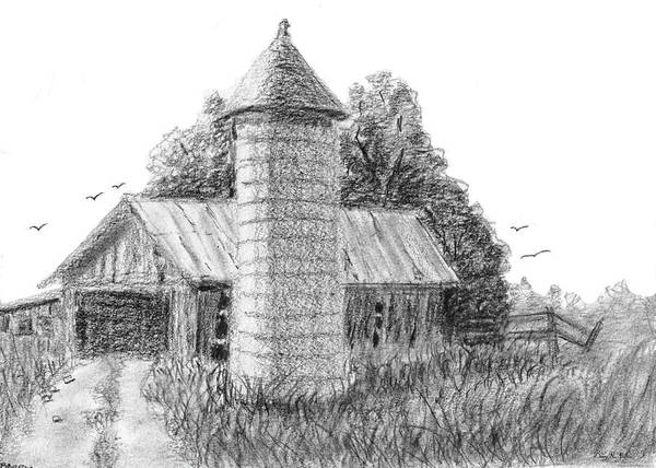 Drawing - Rural Barn And Silo by Barry Jones