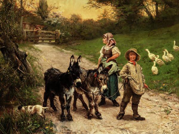 Wall Art - Painting - Rural Children by Edgar Bundy
