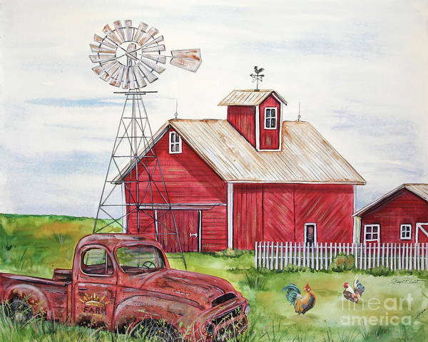 Wall Art - Painting - Rural Red Barn A by Jean Plout