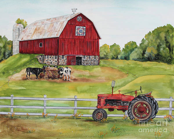 Wall Art - Painting - Rural Red Barn B by Jean Plout