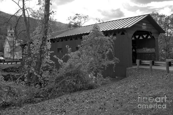 Photograph - Rural West Arlington Covered Bridge Black And White by Adam Jewell