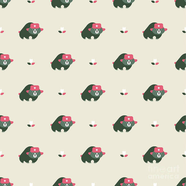 Wall Art - Digital Art - Rusian Bear Seamless Pattern by Vector Pro