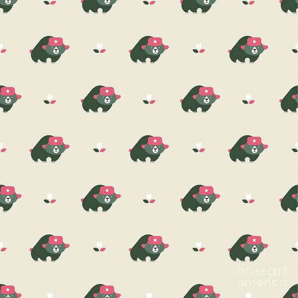 Seamless Wall Art - Digital Art - Rusian Bear Seamless Pattern by Vector Pro