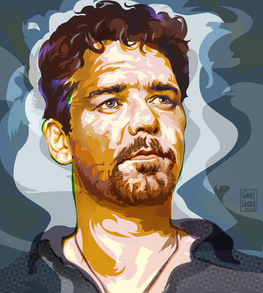Wall Art - Digital Art - Russell Crowe Pop Art Portrait by Garth Glazier