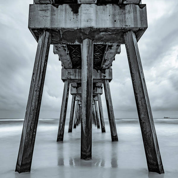 Wall Art - Photograph - Russell Fields Pier - Panama City Beach In Monochrome by Gregory Ballos