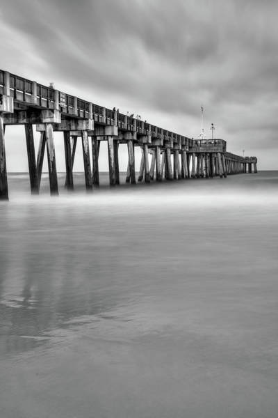 Photograph - Russell Fields Pier - Panama City Beach Monochrome by Gregory Ballos