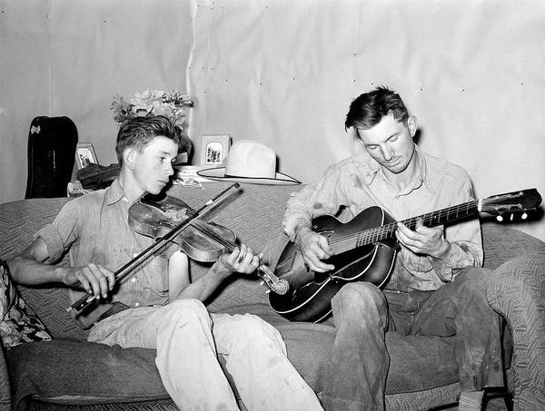 Painting - Russell Lee - Farmer And His Brother Making Music, Pie Town, New Mexico, 1940 by Celestial Images