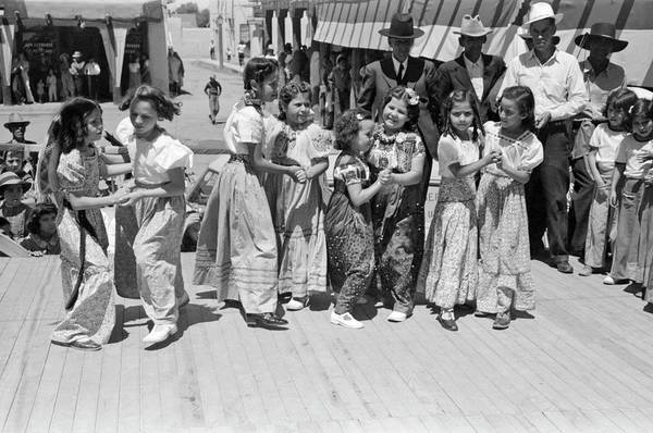 Painting - Russell Lee - Native Dance By Spanish-american Children At The Fiesta, Taos, New Mexico, 1940 by Celestial Images