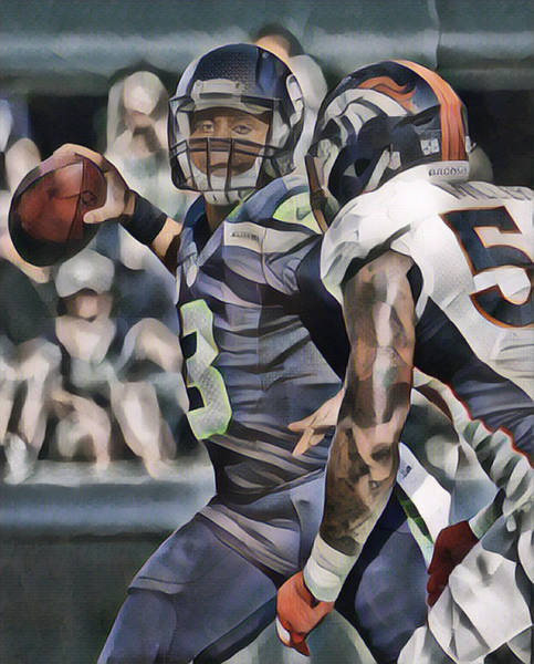Wall Art - Mixed Media - Russell Wilson Seattle Seahawks Vs Von Miller Denver Broncos Abstract Art 1 by Joe Hamilton