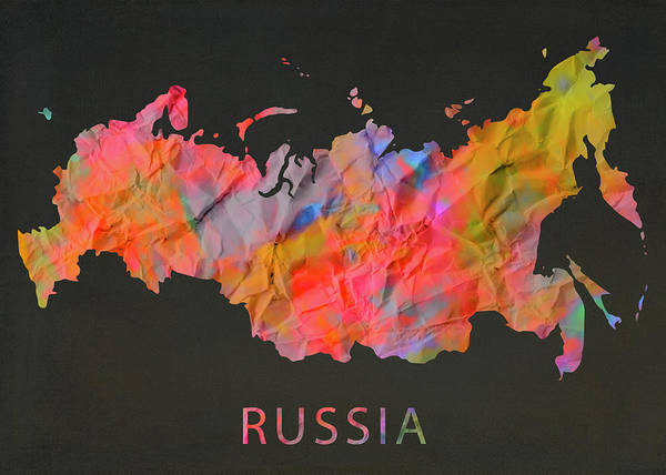 Moscow Mixed Media - Russia Tie Dye Country Map by Design Turnpike