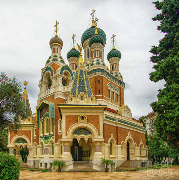 Photograph - Russian Orthodox Cathedral Nice France Exterior by Wayne Moran
