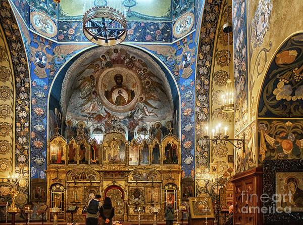 Photograph - Russian Orthodox Cathedral Nice France Interior by Wayne Moran