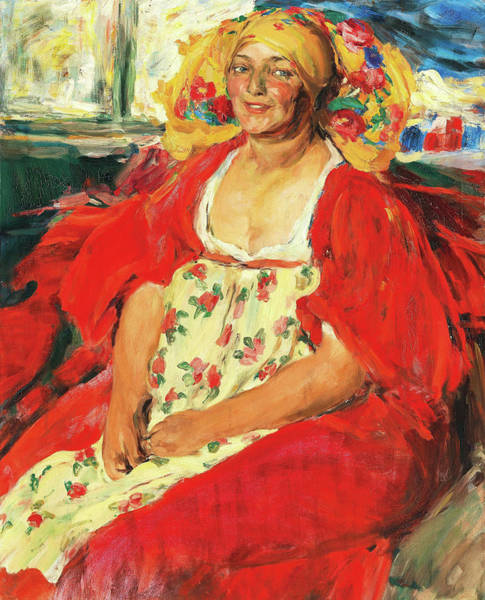 Fat Cat Painting - Russian Peasent Women by Abram Efrimovich Arkhipov