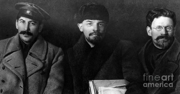 Wing Back Photograph - Russian Revolutionaries Leaders Josef Stalin, Vladimir Lenin And Mikhail Kalinin In 1919 by Russian School