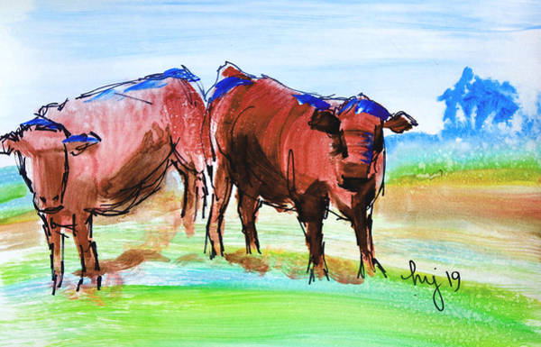 Painting - Rust Red Poll Cows - Two Steer Impressionism En Plein Air Sketch Painting by Mike Jory