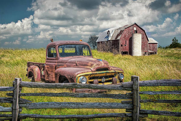 Photograph - Rusted International Harvester Pickup Truck In A Rural Landscape by Randall Nyhof