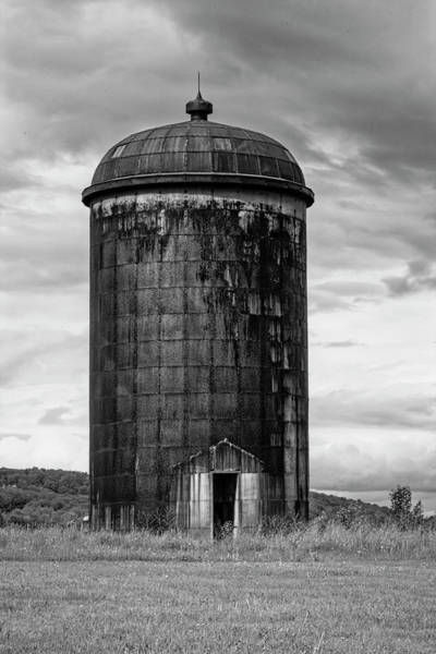 Photograph - Rusted Silo Bw by Susan Candelario