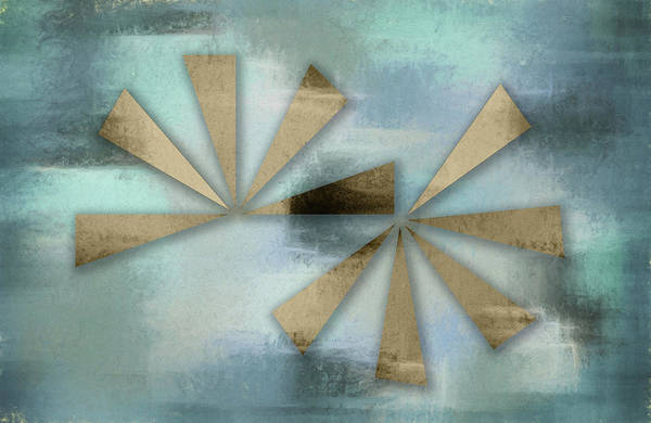 Digital Art - Rusted Triangles On Blue Grey Backdrop by Jason Fink
