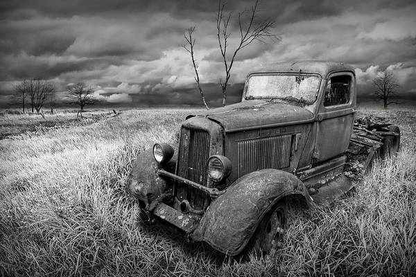 Photograph - Rusted Truck In A Grassy Field Rural Landscape In Black And White by Randall Nyhof